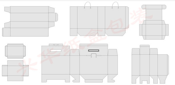 纸箱一般指纸质的箱子,常规概念里属于比较大的纸制品,展开图如下:  纸盒相对于纸箱,体积要小,如常见的飞机盒,展开图如下:  纸箱和纸盒的种类繁多、型式多样,分类方式也有很多种。 纸箱的分类 最常见的分类是按照纸板的瓦楞楞形来区分的。瓦楞纸板的楞型主要分为四种:A楞、B楞、C楞和E楞。 一般而言,用於外包装的纸箱主要采用A、B、C楞型纸板;中包装采用B、E楞型;小包装则多使用E楞纸板。 在生产和制造瓦楞纸箱时,一般按纸箱的箱型来进行区分。 瓦楞纸箱的箱型结构,在国际上普遍采用由欧洲瓦楞纸箱制造商联合会(F